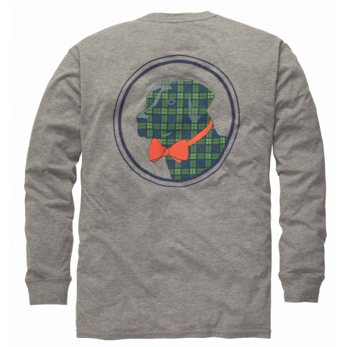 Plaid Lab Tee: Lt. Grey Heather Long Sleeve